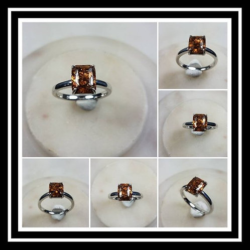 Memorial Ash Emerald Cut Cremation Sterling Silver Solitare Ring