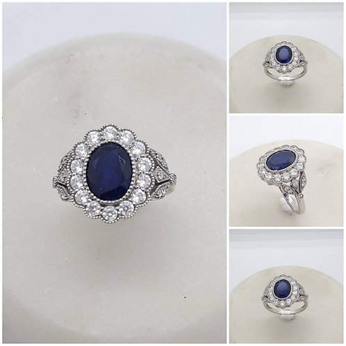Studiodragonfly19 Memorial Ash 10k Gold Sapphire Diamond Ring/Memorial A