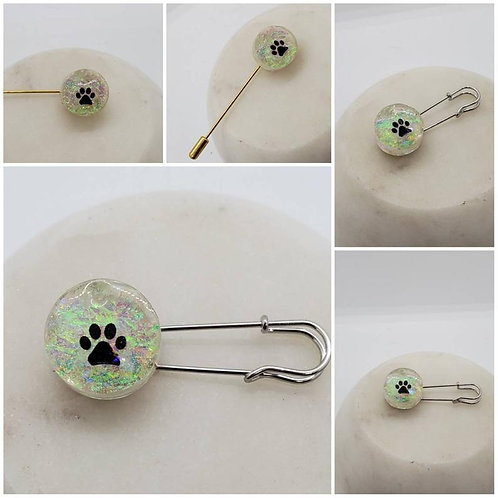 Memorial Ash Cremation Round Dog Paw Brooch Pin/Cremation Jewelry/ Cremation