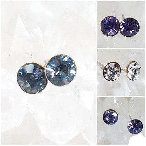 Studiodragonfly19 Memorial Ash Brass Stainless Steel Swarovski Stone Earrings