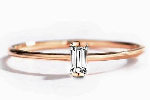 Studiodragonfly19 Memorial Ash Minimalist Gold Diamond Baguette Bezel Ring