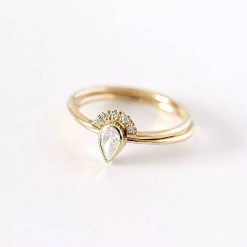 Studiodragonfly19 Memorial Ash Pear 10kt CZ Diamond Cremation Ring Set /Memoria