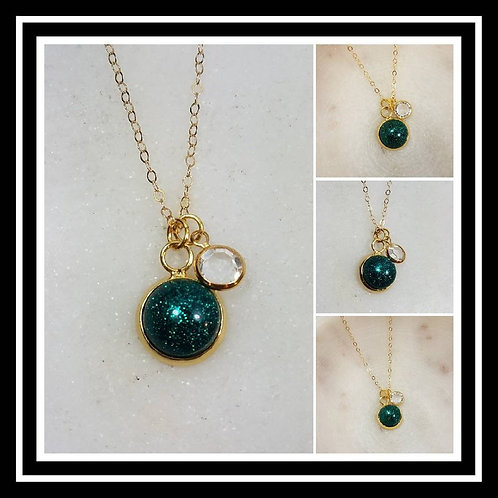 Memorial Ash Gold Plated Crystal Charm Pendant Necklace/Cremation Pendant/ Pet M
