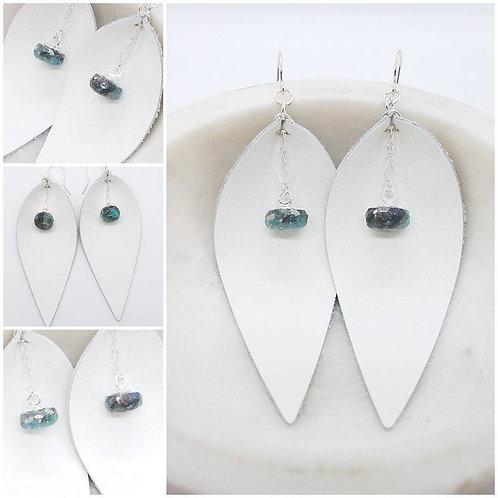Memorial Ash Leather Leaf Rondella Faceted Earrings/Memorial Earrings
