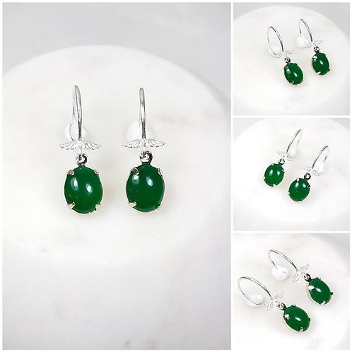 Studiodragonfly19 Cremation Silver Wing Vintage Jade Glass Stone Earrings