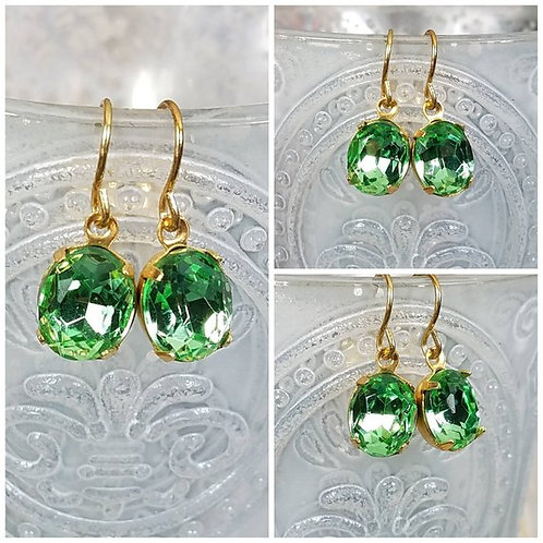 Studiodragonfly19 Cremation Vintage Peridot Crystal Stone Memorial Ash Earrings