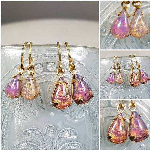 Studiodragonfly19 Cremation Vintage Opal Drop Glass Stone Memorial Ash Earrings