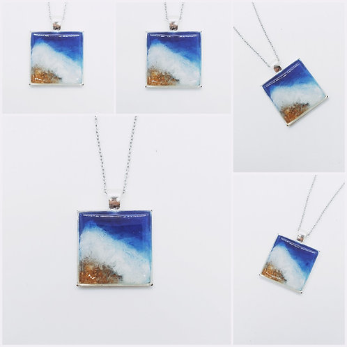 Ocean Beach Art Memorial Cremation Pendant Necklace /Ash Memorial Pendant /Pet M