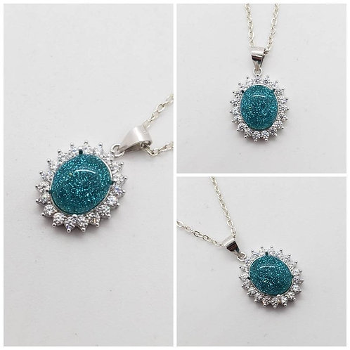 Memorial Ash Cremation CZ Sterling Silver Ova Flower Pendant Necklace