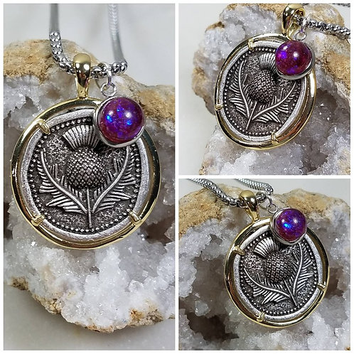 Memorial Ash Silver Plated Thistle Pendant Necklace /Cremation Necklace/Pet Ash