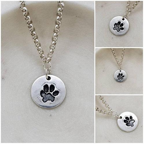 Memorial Ash Pure Silver Dog Paw Necklace/Cremation Pendant/ Pet Memorial