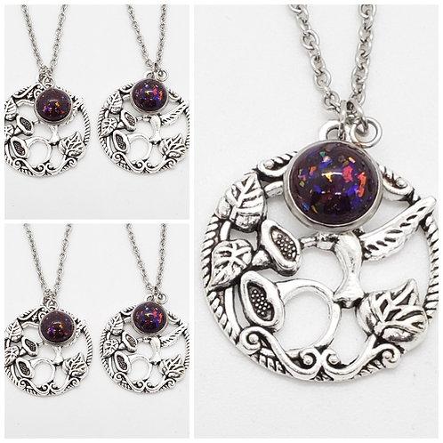 Memorial Ash Silver Hummingbird Necklace/Cremation Pendant/ Pet Memorial Jewelry