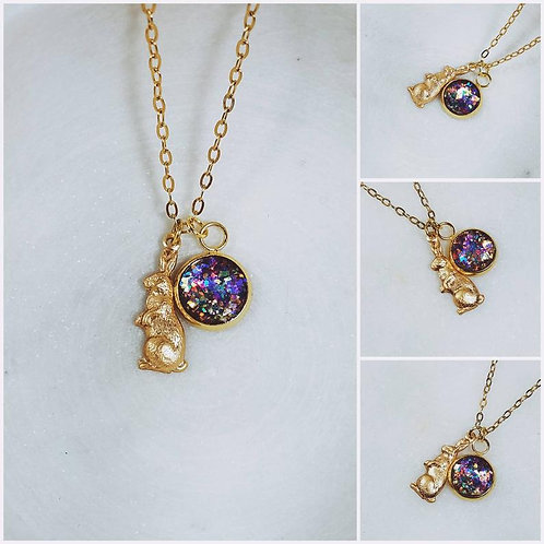 Memorial Ash Round Bunny Rabbit Charm Pendant Necklace/ Memorial Jewelry/ Ash Ne