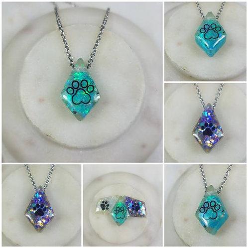 Sliding Diamond Paw Print Memorial Ash Necklace