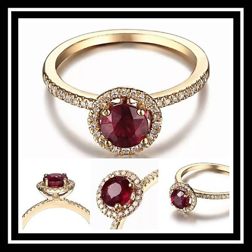 Studiodragonfly19 Memorial Ash Solitare 10kt Ruby Gold Diamond Cremation Ring