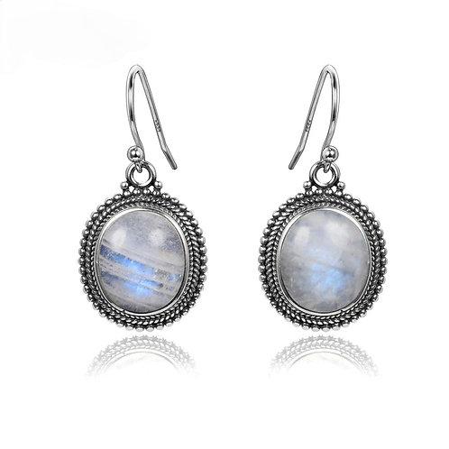 Memorial Cremation Sterling Silver Moonstone Earrings