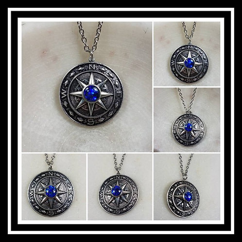 Memorial Ash Compass Pendant/ Memorial Jewelry/ Ash Necklace/Pet Memorial/ Crema