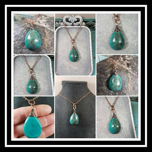 Turquoise Memorial Ash Stone Copper Wire Wrapped Pendant Necklace/Cremation Pend