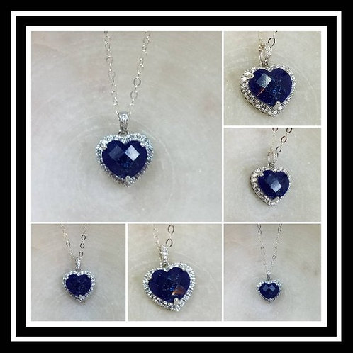 Memorial Ash Sterling Silver Cubic Zirconia Heart Pendant Necklace