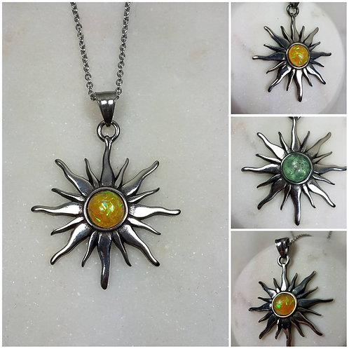 Memorial Ash Stainless Steel Sun Necklace/Cremation Necklace/Pet Memorial/Ash Je