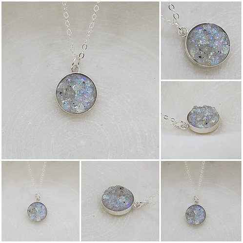 Memorial Ash Gold Filled Sterling Silver Bezel Druzy Stone Pendant Necklace