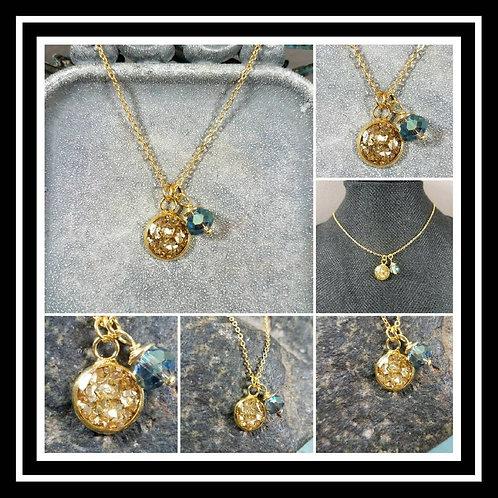Gold Plated Memorial Ash Pendant Charm Memorial Jewelry/ Ash Necklace/Pet Memori