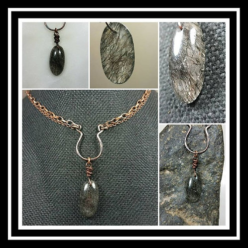 Cremation Ash Hammered Copper Black Rutilated Quartz Artisan Necklace/Patina or