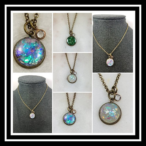Memorial Ash Bronze Crystal Charm Pendant Necklace/Cremation Pendant/ Pet Memori