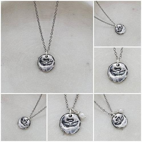 Memorial Ash Angel Pendant Necklace/Precious Pure Silver Pendant Necklace/Memori