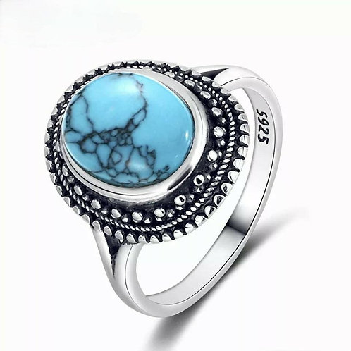 Studiodragonfly19 Gem Stone Memorial Ash Natural Turquoise Bezel Ring/ Memorial