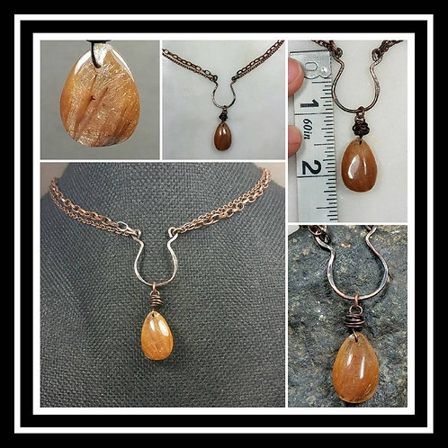 Cremation Memorial Ash Hammered Copper Gold Rutilated Quartz Artisan Necklace/Pa