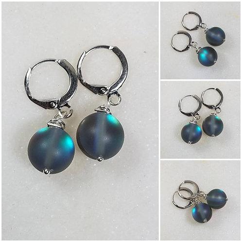 Studiodragonfly19 Memorial Ash Cremation Sterling Silver Glass Moon Earrings/Mem