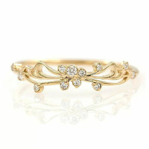 Studiodragonfly19 Memorial Ash Minimalist 10k Gold Cubic Zirconia Diamonds Ring