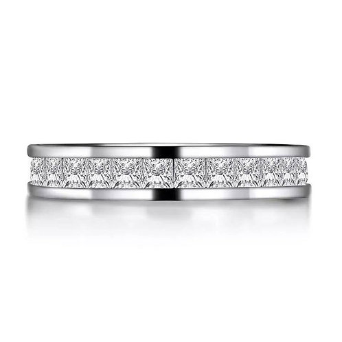 Studiodragon19 Eternity Princess Cut Sterling Silver Band Ring/Memorial Ash