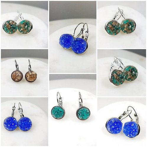 Memorial Ash Druzy Stone French Lever Earrings