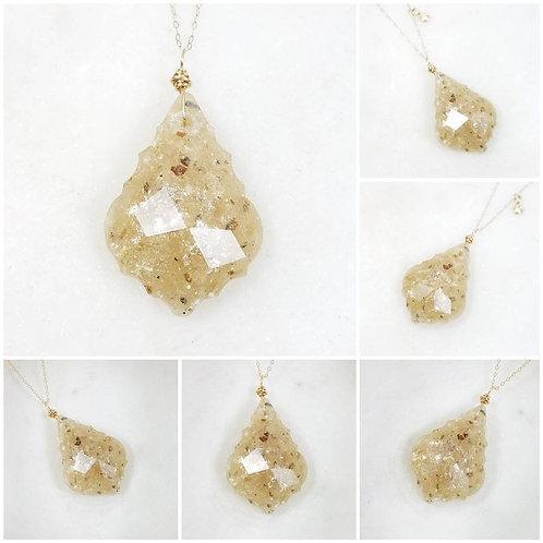 Memorial Ash Cremation Faceted Wire Wrapped Crystal Pendant Necklace/Cremation M