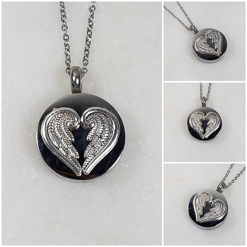 Memorial Ash Stainless Steel Cremation Angel Wing Heart Necklace/Cremation Penda