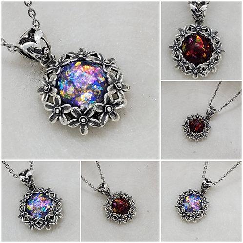 Sterling Silver Memorial Ash Daisy Pendant Necklace/ Memorial Ash Jewelry/ Pet M