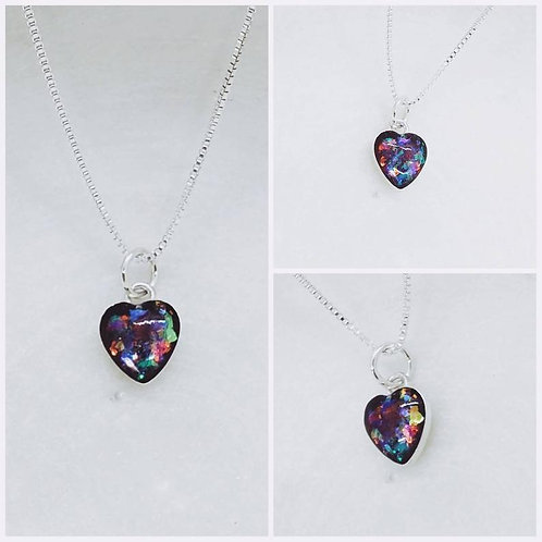 Memorial Ash Sterling Silver 10mm Heart Cremation Pendant Necklace/Cremation