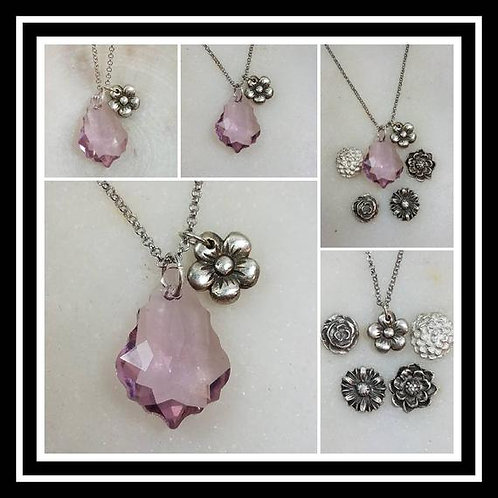 Memorial Ash Pure Silver Flower and Crystal Pendant Necklace