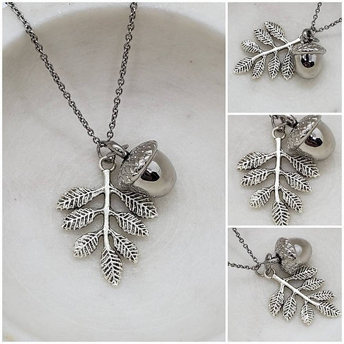 Memorial Ash Stainless Steel Cremation Urn Acorn Leaf Necklace/Initial Birthston