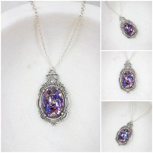 Studiodragonfly19 Cremation Czech Opal Glass Stone Memorial Ash Necklace