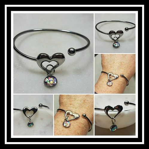 Memorial Ash Stainless Steel Heart Bracelet/Cremation Charm Bracelet/Pet Memoria
