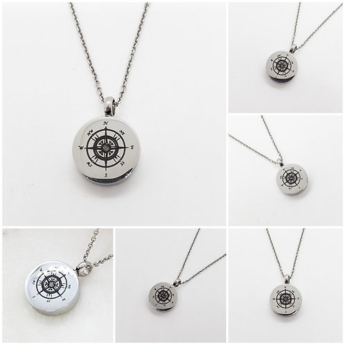 Memorial Cremation Compass Urn Pendant