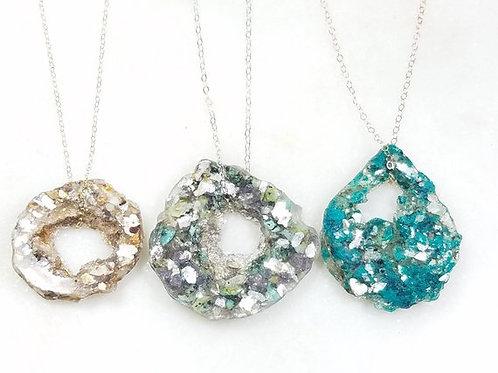 Geode Memorial Ash Crystal Pendant/Memorial Ash Jewelry/ Pet Memorial Pendant