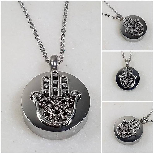 Memorial Ash Stainless Steel Cremation Hamsa Urn Necklace/Cremation Pendant/Crem
