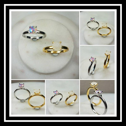 Memorial Ash Sterling Silver White and Yellow 4Prong Ring/ Memorial Ash JewelryP
