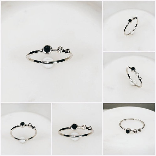 Memorial Ash Stone Sterling Silver Gold Trio Bezel Ring/Cremation Jewelry/80+ Co