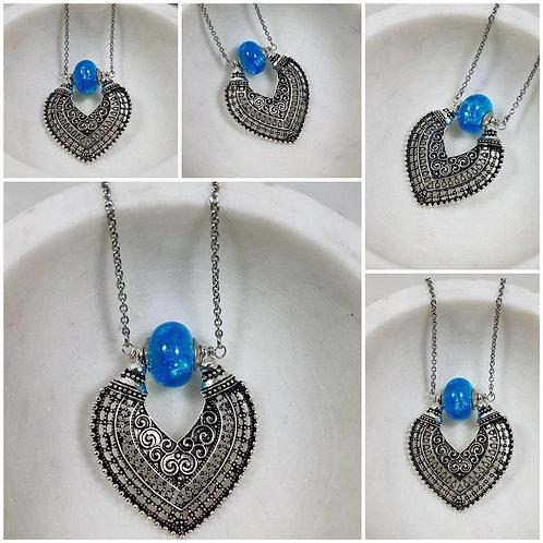 Memorial Ash Moroccan Pendant Necklace / Cremation Necklace/ Memorial Ash Neckla