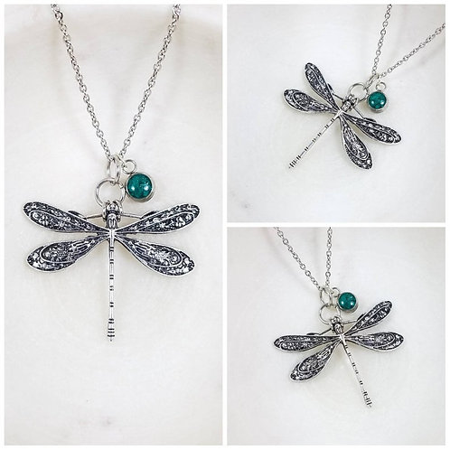 Memorial Ash Sterling Silver Dragonfly Pendant Necklace /Cremation Necklace/Pet